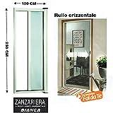 Webeingstore Zanzariera a rullo in alluminio per porte/balconi con profilo riducibile/regolabile avvolgimento orizzontale 150x250cm Bianca