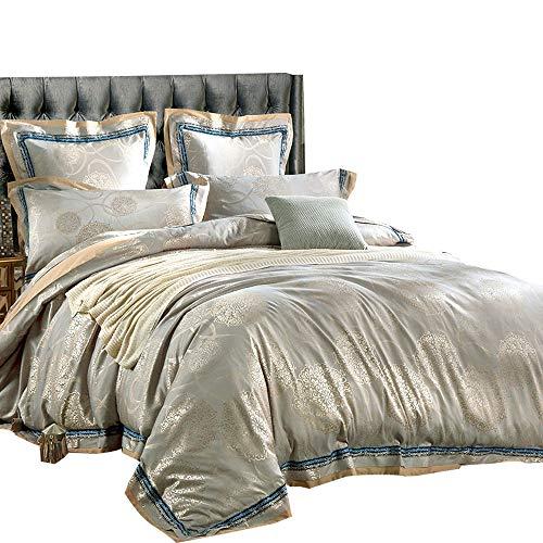 MKXI Bettwäsche-Set, luxuriöses Satin, mit Reißverschluss, Wolkenmuster, Paisleymuster, Jacquard-Muster, europäische Stil Kollektion, Queen King Size Modern Queen(90