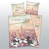 Herding 4478203050 Bettwäsche Mickey & Minnie, Kopfkissenbezug: 80 x 80 cm + Bettbezug: 135 x 200 cm, 100 % Baumwolle, Linon