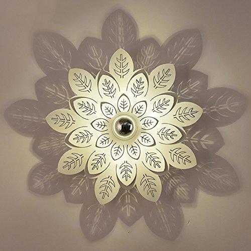 Nickel-metall-schatten (BCYEM LED Wandlampe Modern Schatten Wandleuchten Blatt Kreative Design für Schlafzimmer Metall 3W 35cm)
