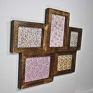5 picture large multi wooden photo frame retro dark wood kitchen home. Black Bedroom Furniture Sets. Home Design Ideas