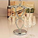 Sostenedor de cristal de vino de acero inoxidable creativo alto estante del vino que cuelga al revés estante del vidrio de vino decoración de la sala de estilo europeo 2pcs,Silver,XL