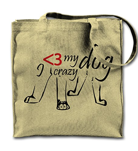 I Love My Crazy Dog Pet Cool Natural Canvas Tote Bag, Cloth Shopping Shoulder Bag -