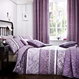 Dreams N Drapes 'Hanworth' Horizontal Bands of Drawn Leaves Striped and Reversible Duvet Cover Set, Double, Heather
