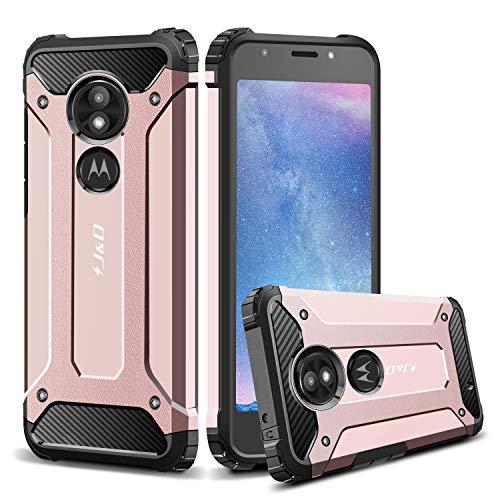 J & D Moto E5 Play Hülle, [ArmorBox] [Doppelschicht] [Heavy-Duty-Schutz] Hybrid Stoßfest Schutzhülle für Motorola Moto E5 Play - [Nicht Kompatibel mit Moto E5 Plus/Moto E5] - Rose Gold