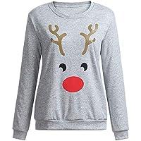 HWTOP Sweatshirts Hoodies Damen Oberteil Hemd T-Shirt Pullover Locker Weihnachten Elk Printed Sport Freizeit Premium Kleidung Langarmshirt Bluse Frauen Pulli Tops