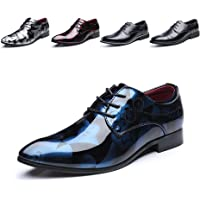 Derby Shoes for Men Business Oxford Shoes Brogue Patent Leather Mens Dress Shoes Lace-Ups Monk Formal Slip-On Black Tan…