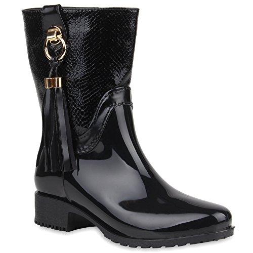 Damen Stiefeletten Gummistiefel Lack Stiefel Boots Quasten Regen Profilsohle Gummistiefeletten Allyear Schuhe 105671 Schwarz Fransen 36 Flandell