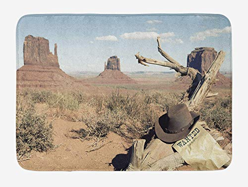 Western Bath Mat, Cowboy Hat on Dried Tree Branch and Wanted Sign Desert Monument Alley in USA, Plush Bathroom Decor Mat with Non Slip Backing, 23.6 W X 15.7 W Inches, Tan Pale Blue Kid Cowboy-chaps