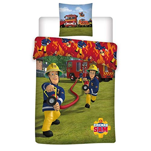 Sam le Pompier Parure de lit Housse de Couette 140 x 200 cm Taie 63 x 63 cm