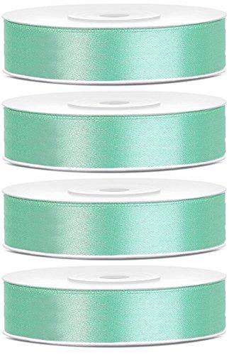 SiDeSo® SATINBAND 100m x 6mm (4x25m Rolle) viele Farben Hochzeit Dekoband Geschenkband Antennenband Schleifenband (mint)