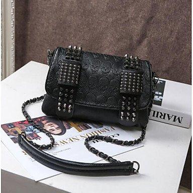 SUNNY KEY-Borsa a tracolla @ Donna Borsa a tracolla PU (Poliuretano) Per tutte le stagioni Rotondi Cerniera Nero , black black