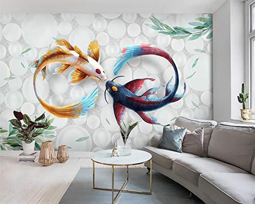HDDNZH Wandbild,Custom 3D Großes Wandbild Tapeten Handgemalten Aquarell Koi Fisch Fresco Tier Serie Tv Hintergrund Wand Wohnzimmer Schlafzimmer Home Decor