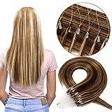 """Extension Elastique Cheveux Naturel [0.5g * 100 Pièces] (16""""/40cm, 100 Mèches) 100% Remy Hair Glisse & Silky [ Marron Chocolat & Blond Foncé ]"""
