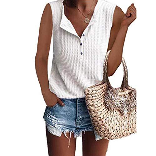 Felicove Shirts Damen Sommer Waffel Strick Tunika Tops lose ärmellose Button Up V-Ausschnitt Henley Shirts - Button-up T-shirt Henley