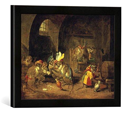 """Gerahmtes Bild von David Teniers der Jüngere """"Kartenspielende Affen"""", Kunstdruck im hochwertigen handgefertigten Bilder-Rahmen, 40x30 cm, Schwarz matt"""
