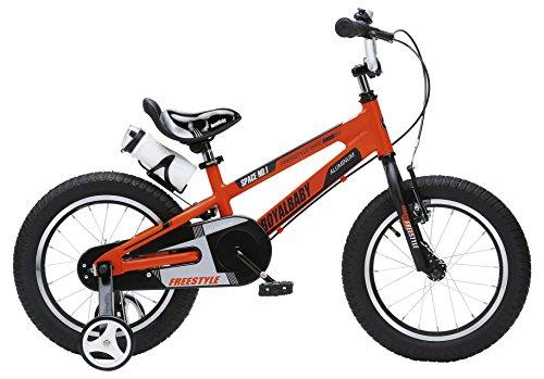 RoyalBaby Space No. 1 bicicleta de aluminio para niños para niños y niñas, de 3 a 6 años, 12 pulgadas, 16 pulgadas, con ruedas de entrenamiento y soporte de estacionamiento