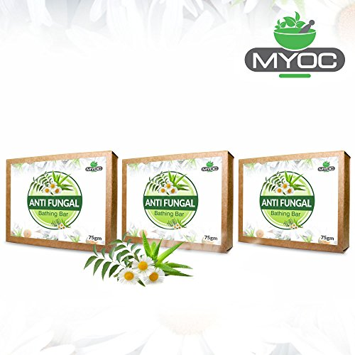 Neem oil, Aloe Vera , Chamomile, Vitamin E and Glycerine soap for athletes foot, jocks ictch and fungal infections 75gm x 3 Pack