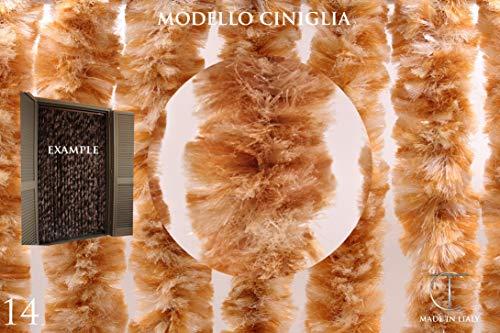 CHENILLE - Türvorhänge Modell CINIGLIA - Eichmaß 80X200 / 90X200 / 95X200 / 100X220 / 120X230 / 130X240 / 150X250 - Fliegenvorhang - Kunststoff-Vorhänge - Made in Italy (80X200, Panna e Bronzo N.14)