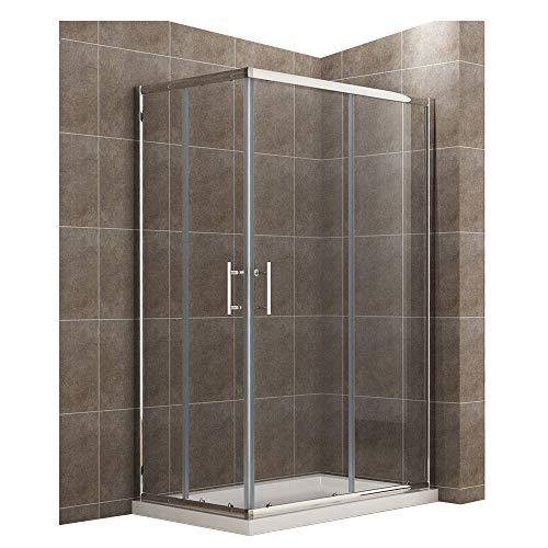 Duschkabine/Duschabtrennung 120x70x185cm Eckeinstieg mit Duschwanne Doppel Schiebetür Echtglas mit Duschtasse