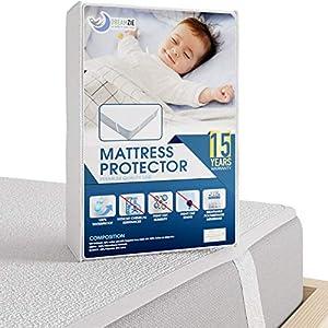 Dreamzie Matratzenschoner Wasserdicht 60 x 120 cm für Kinder | Wasserundurchlässige Matratzenauflage | Atmungsaktive Baumwolle Matratzenauflage | 15 Jahre Garantie