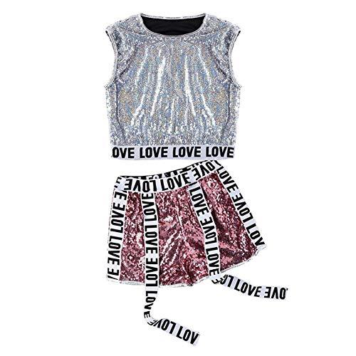 Xinvivion Damen Pailletten Tanzkleid - Moderne Jazz Dance Kostüme Damenmode heißen Tanz 3-Teiligen Anzug (Street Dance Kostüm Kleidung)