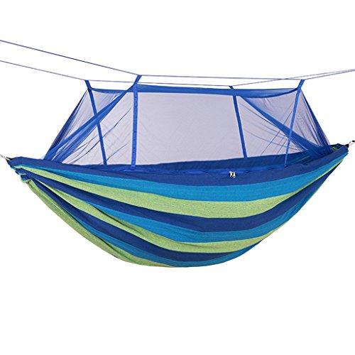 WLHW Hängematte Schaukel Stuhl Dicker Leinwand mit Moskitonetz Outdoor Camping Zelt Doppel Single Sky Zelt Blau und Rot (Farbe : Blau)