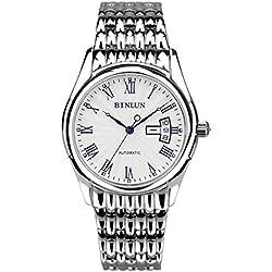 binlun Herren Alle Silber Ton Edelstahl Luminous Strong Light Japan automatische mechanische Casual Uhr, die mit Calandar