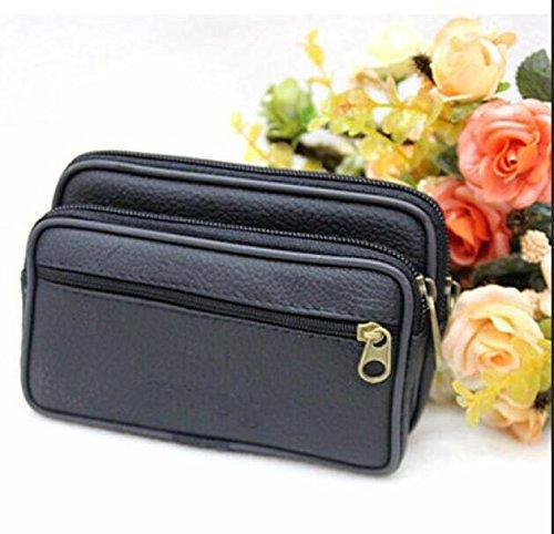 ZYT Leder Herren Geldbörse mobile Herrenportemonnaie Taschen hochwertige Leder Ebbe und Wandern Black