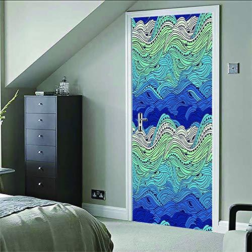 Adesivo porta 3d moderna pvc manifesto artistico onde burattate (77x200cm) soggiorno camera da letto camera dei bambini paesaggio per decorazione decorazione domestica