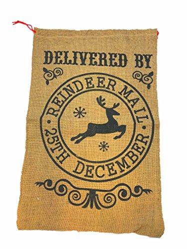 Jute offerts par rennes par mail Noir Chaussette de Père Noël cadeaux de Noël