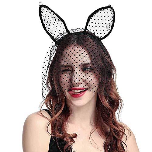 Sexy Lady Black Lace Stirnband mit Schleier Maske, -
