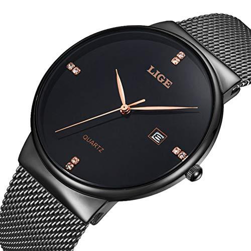 LIGE Damen Herren Analog Quarz Mode Elegante Uhr mit Wasserdichte Schwarzes Edelstahl Mesh 9801