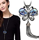 #7: Shining Diva Fashion Jewellery Butterfly Pendent for Girls with Long Chain Pendant Party Western Wear Stylish Necklace for Women & Girls(Blue)(9275np)