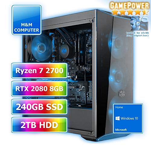 Gamer Wasserkühlung RGB, AMD Ryzen 7 2700 CPU Octa-Core, GeForce RTX2080-8GB Gaming, 240GB SSD, 2000GB HDD, 16GB DDR4 RAM, Gigabyte Aorus Mainboard, Windows 10 Home ()