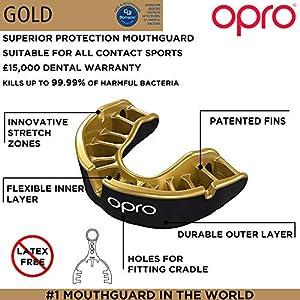 Opro Mundschutz Gold Level, für Ball, bekämpfen und Stick Sport–18Monat Dental Garantie (Erwachsene/Kinder Größen)