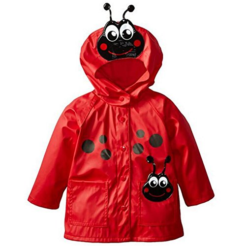 Highdas Baby Kids Frog & Beetle Windproof Rainsuit Children Hooded Jacket 90-130