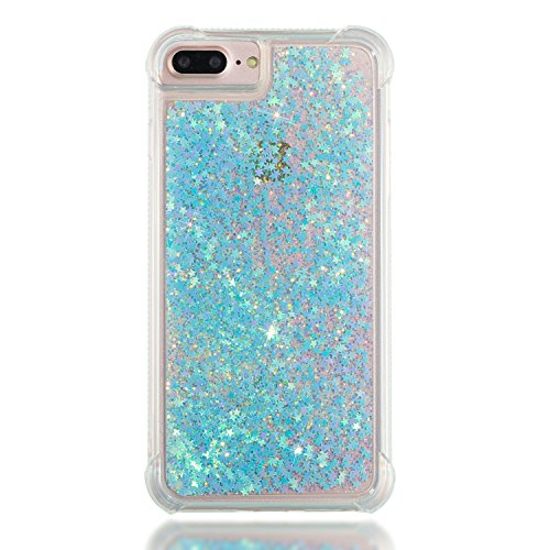 3C-LIFE iPhone6 Plus [1Case + 1Holding Strap] Cute Shiny Luxury Floating Glitter Case Girls Women Sparkle Bling Quicksand Liquid Cover Clear TPU Bumper Case for iPhone6 Plus (Bluestar) (Cover Bling Plus Iphone6)