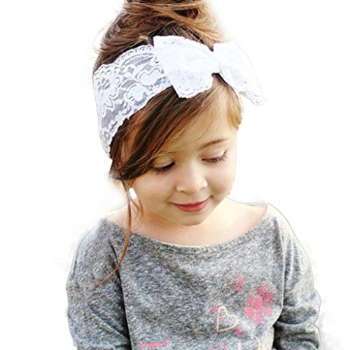 Baby Hair Accessories Koly Girls Baby Kids Lace Big Bow Hair Band Baby Head Wrap Band (White)