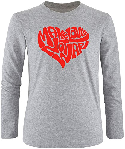 EZYshirt® Make love not war Herren Longsleeve Grau/Rot
