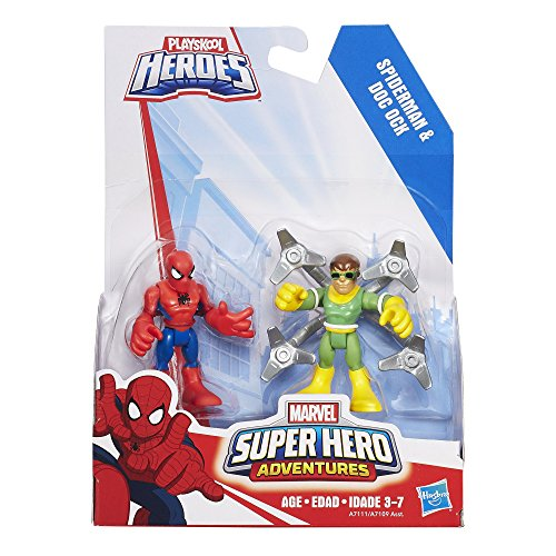 Playskool Heroes Marvel Super Hero Adventures Spider Man and Doc Ock Figures