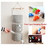 Hanger Storage Bag Artistic9(TM) 3 Grids Wall Hanging Storage Bag Organizer Toys Door Pocket Pouch Container (Grey)
