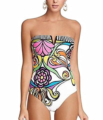 UMilk Femmes Maillot de bain imprimé à bretelles imprimé à rayures Monokini