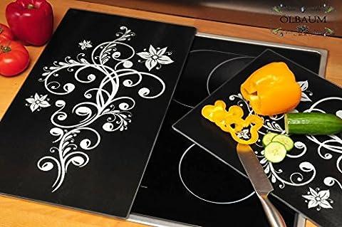 PREMIUM Herdabdeckplatten 2-tlg. Set schwarz, Herdabdeckung + Spritzschutz Glas, Herdblende,Herdabdeckplatte für Elektroherd mit Ceran,Ceranfeld,Induktion Kochfeld - auch als Schneidebrett Maße viereckig je ca. 52 cm x 30 cm x 0,8 cm - Herdplatten Abdeckung Schneidbretter Glaskeramik Kochfelder Kochplatten, Herdset einzeln doppel doppelt rund, Kinderschutz für Herdfeld Herdglas Ofen Backofen, Herdzubehör, Kochfeldplatten gross