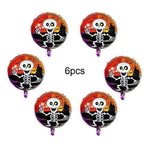 JK 45,7cm Halloween Folie Ballons, 6Pack Air aufblasbar Luftballons für Halloween Geburtstag Party Spoof Decor, Totenkopf, 45,7 (Aufblasbares Kürbis Kopf Kostüm)