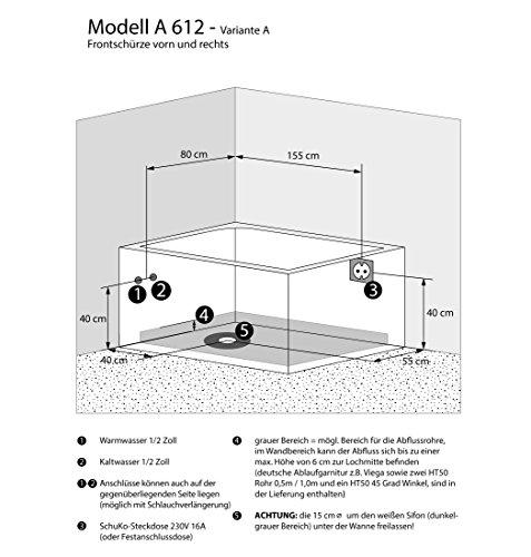 Whirlpool Vollausstattung Pool Eckwanne Wanne A612H-A Reinigungsfunktion 135×180, Selfclean:ohne +0.-EUR, Sonderfunktion2:Ring-Zirkulation +30.-EUR - 5