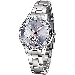 ufengke® carved peony dial rhinestone bezel wrist watch for women,white