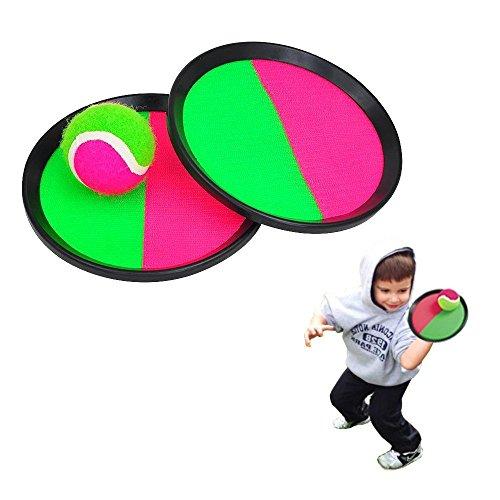 Funwill Wurf Fangen Bat Ball Spiel Set Haken und Riegel Werfen und fangen Sport Spiel für Hot Outdoor Beach Garten Pool Spielzeug Große Familie Spiel (2 Stück Paddel + 1 BALL) (Spiel Catcher)