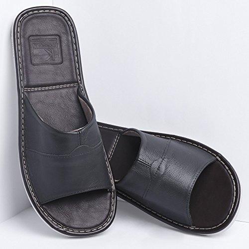 Leder Pantoffeln KENROLL Gummisohle Hausschuhe Sommerurlaub Hausschuh Größen Zehentrenner Flip Flops für Herren für Damen Schwarzgrau