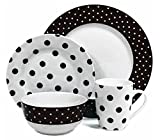 16PCS Ceramic Porcelain Polka Dot Dinner Set Plates Cups Bowls Kitchen Chervi Service (Black Polka)